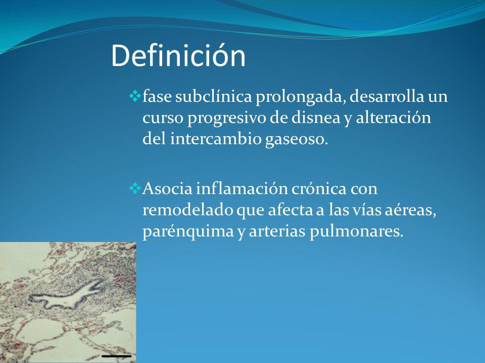 Definición fase subclínica prolongada, desarrolla un curso progresivo de disnea y alteración del intercambio gaseoso.
