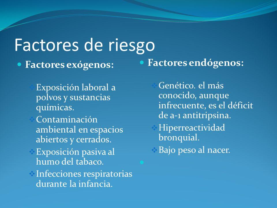 Factores de riesgo Factores endógenos: Factores exógenos: