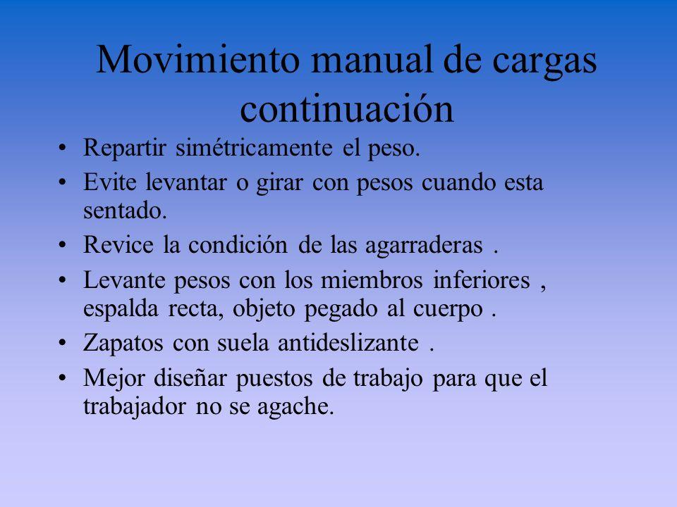 Movimiento manual de cargas continuación