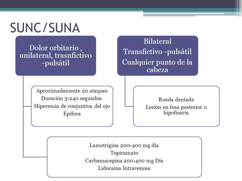 SUNC/SUNA Dolor orbitario , unilateral, trasnfictivo -pulsátil