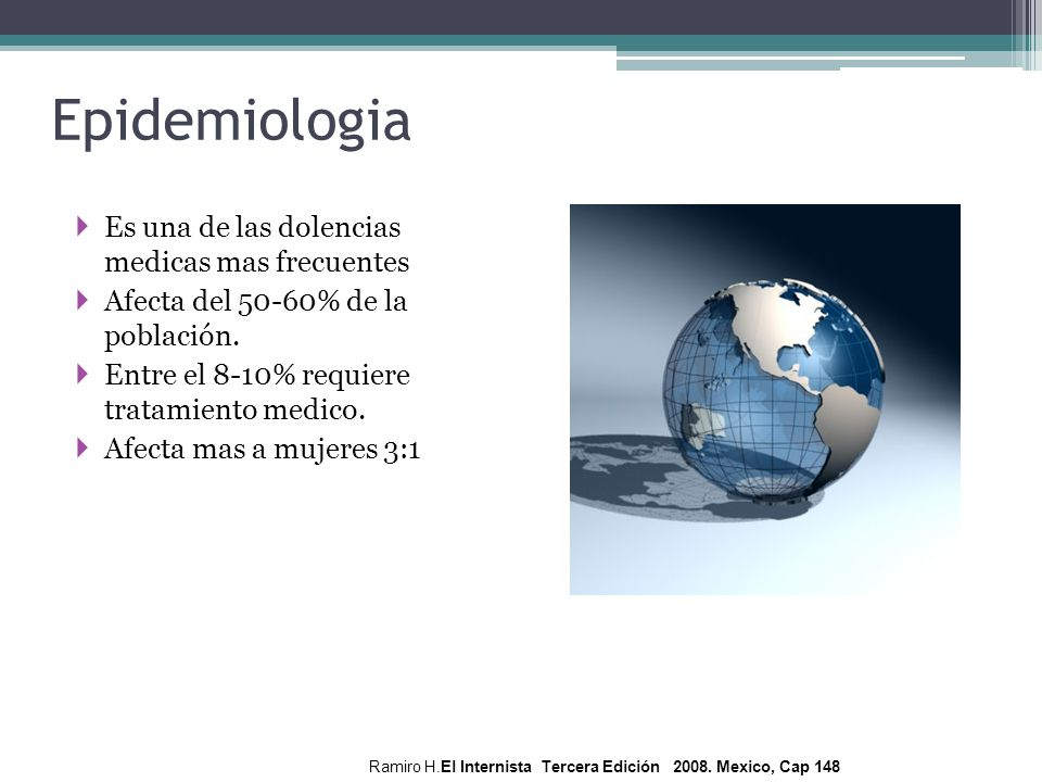 Epidemiologia Es una de las dolencias medicas mas frecuentes