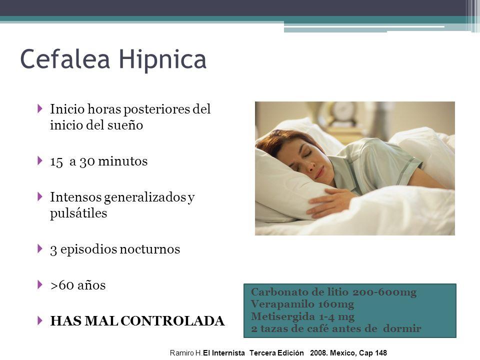 Cefalea Hipnica Inicio horas posteriores del inicio del sueño