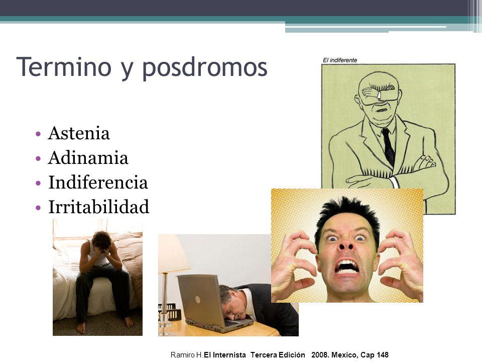 Termino y posdromos Astenia Adinamia Indiferencia Irritabilidad