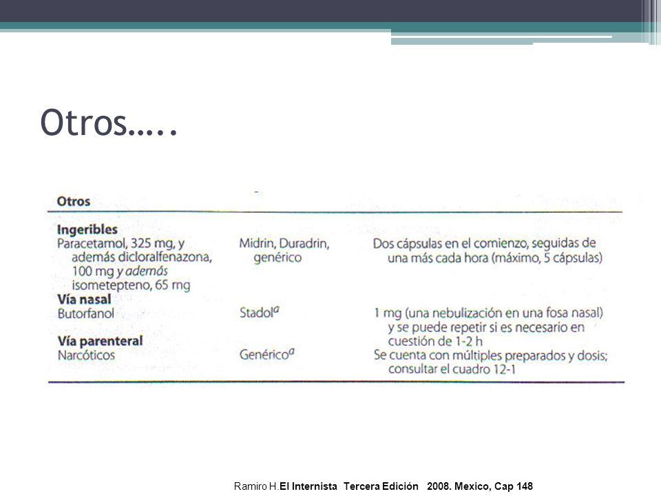 Otros….. Ramiro H.El Internista Tercera Edición 2008. Mexico, Cap 148