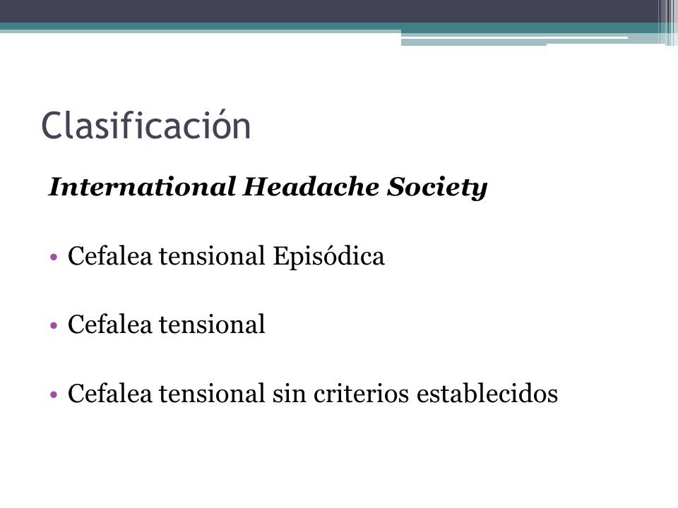 Clasificación International Headache Society