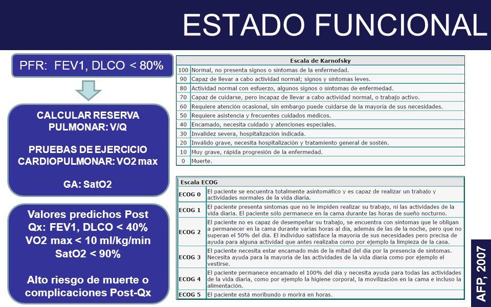 ESTADO FUNCIONAL PFR: FEV1, DLCO < 80% AFP, 2007