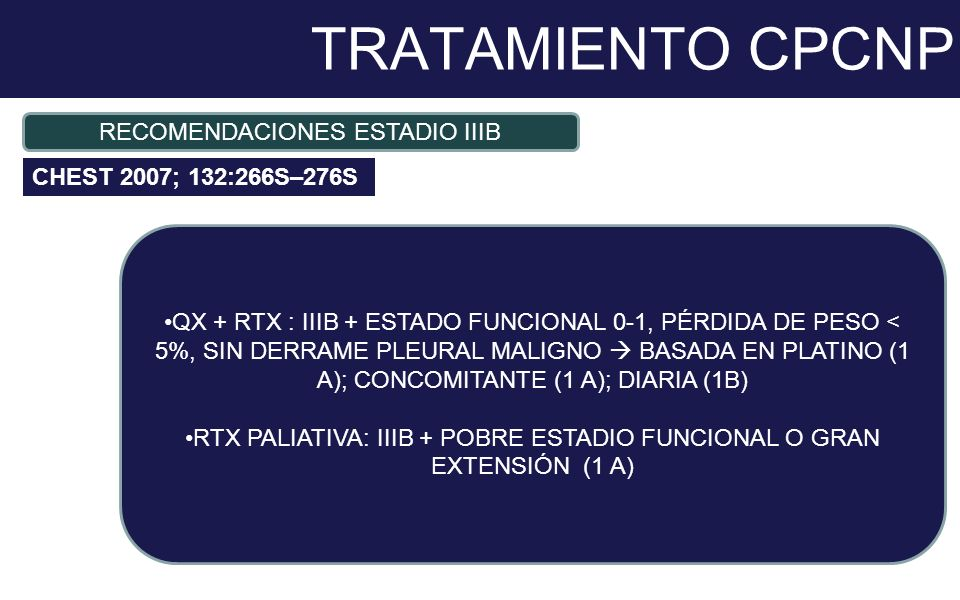 TRATAMIENTO CPCNP RECOMENDACIONES ESTADIO IIIB