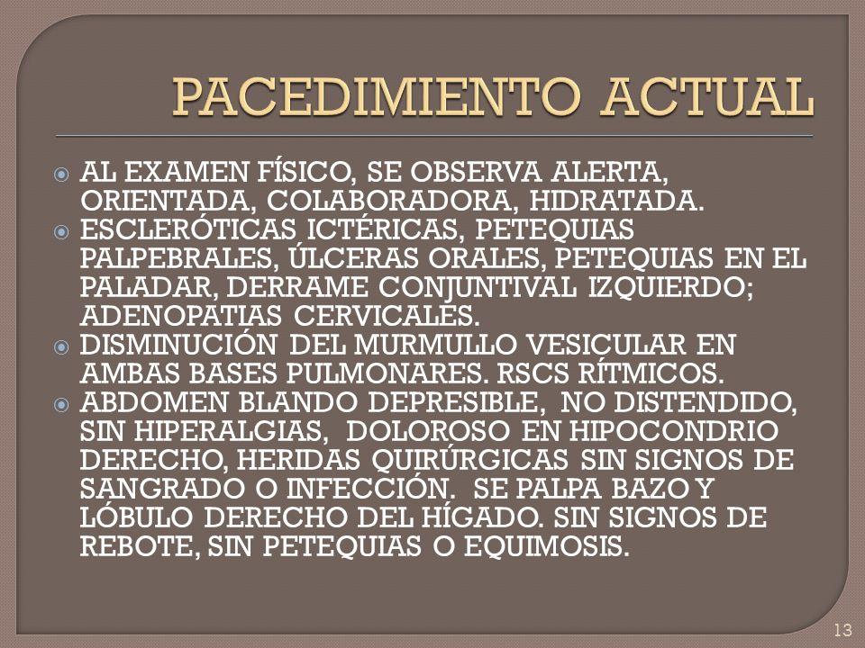 PACEDIMIENTO ACTUAL AL EXAMEN FÍSICO, SE OBSERVA ALERTA, ORIENTADA, COLABORADORA, HIDRATADA.