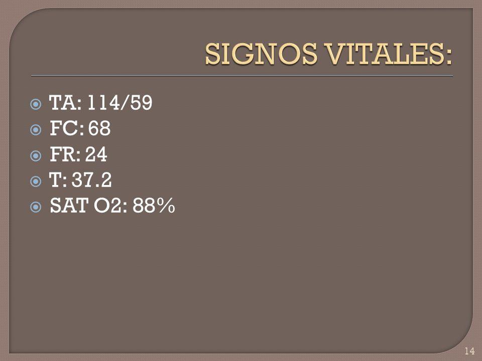 SIGNOS VITALES: TA: 114/59 FC: 68 FR: 24 T: 37.2 SAT O2: 88%