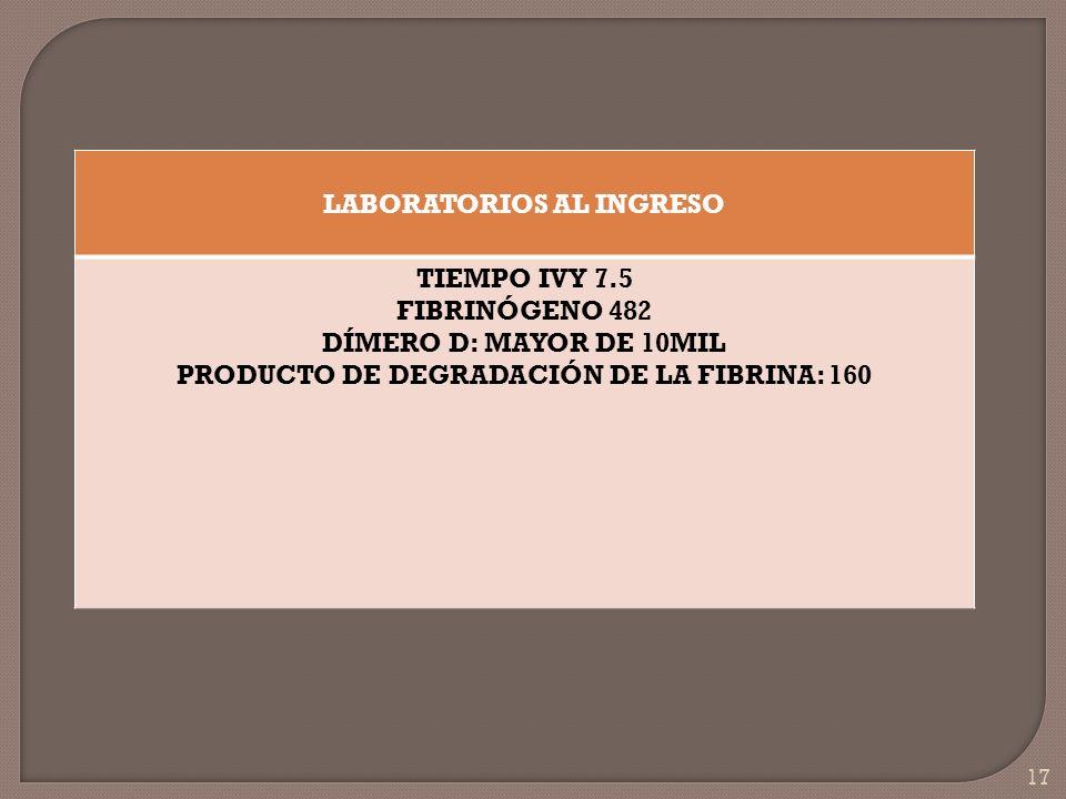 LABORATORIOS AL INGRESO PRODUCTO DE DEGRADACIÓN DE LA FIBRINA: 160