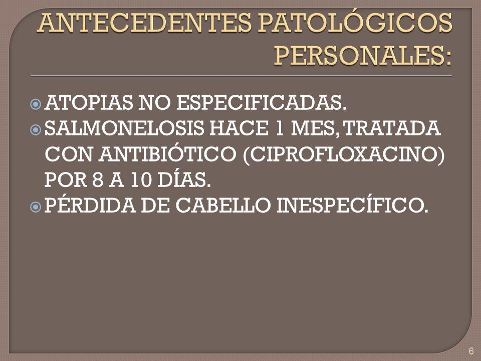 ANTECEDENTES PATOLÓGICOS PERSONALES: