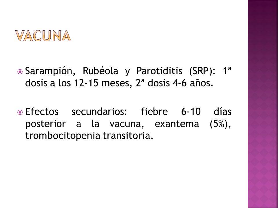 VACUNA Sarampión, Rubéola y Parotiditis (SRP): 1ª dosis a los 12-15 meses, 2ª dosis 4-6 años.