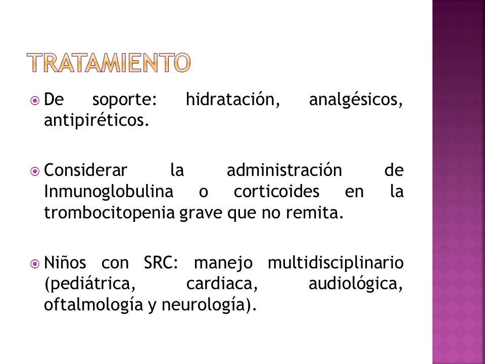 tratamiento De soporte: hidratación, analgésicos, antipiréticos.