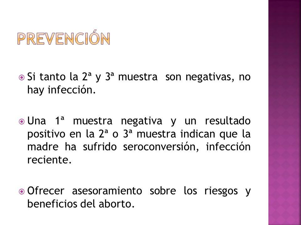 prevención Si tanto la 2ª y 3ª muestra son negativas, no hay infección.