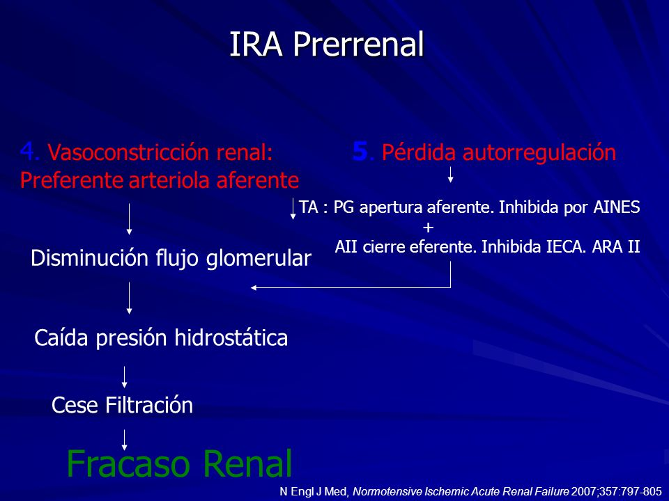 Fracaso Renal IRA Prerrenal 4. Vasoconstricción renal: