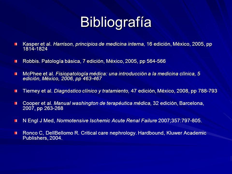 Bibliografía Kasper et al. Harrison, principios de medicina interna, 16 edición, México, 2005, pp 1814-1824.