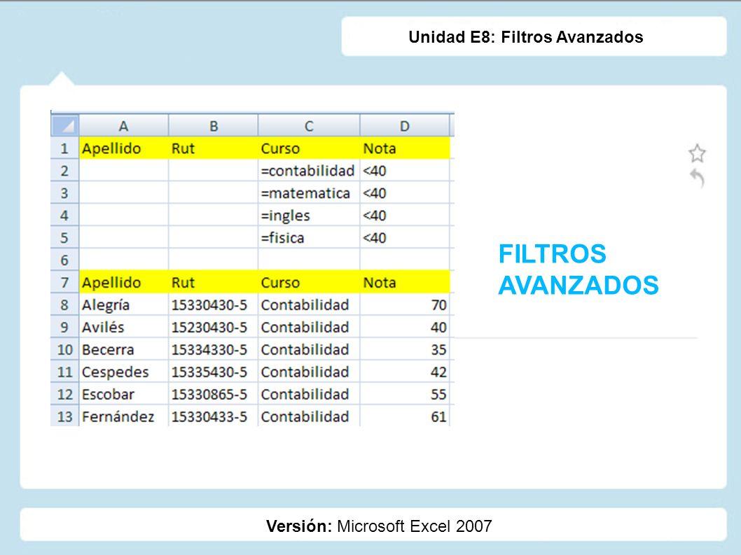 FILTROS AVANZADOS Unidad E8: Filtros Avanzados