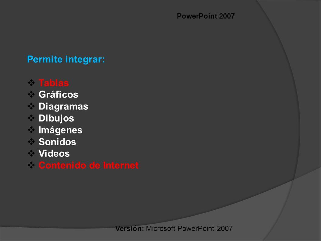 Permite integrar: Tablas Gráficos Diagramas Dibujos Imágenes Sonidos
