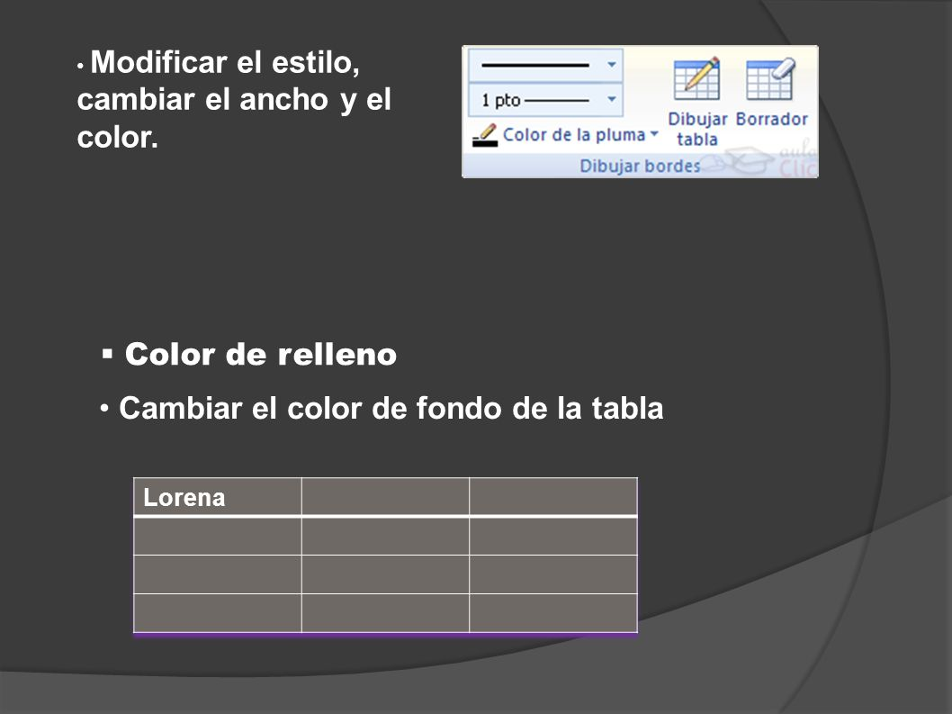 Cambiar el color de fondo de la tabla