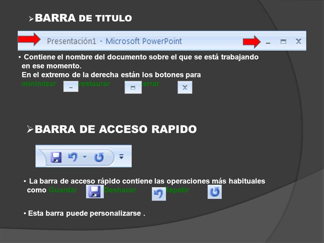 BARRA DE ACCESO RAPIDO BARRA DE TITULO