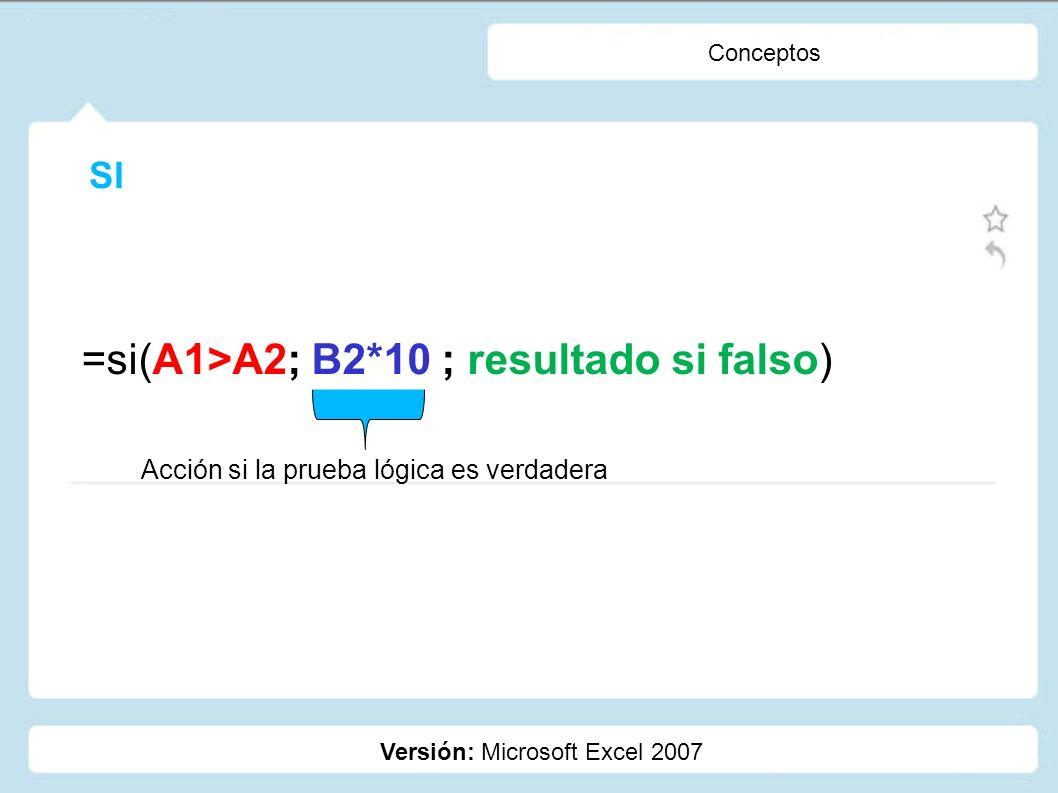 =si(A1>A2; B2*10 ; resultado si falso)