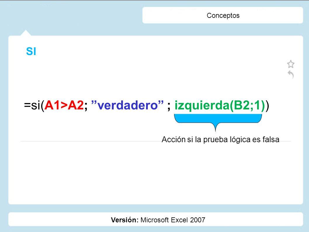 =si(A1>A2; verdadero ; izquierda(B2;1))
