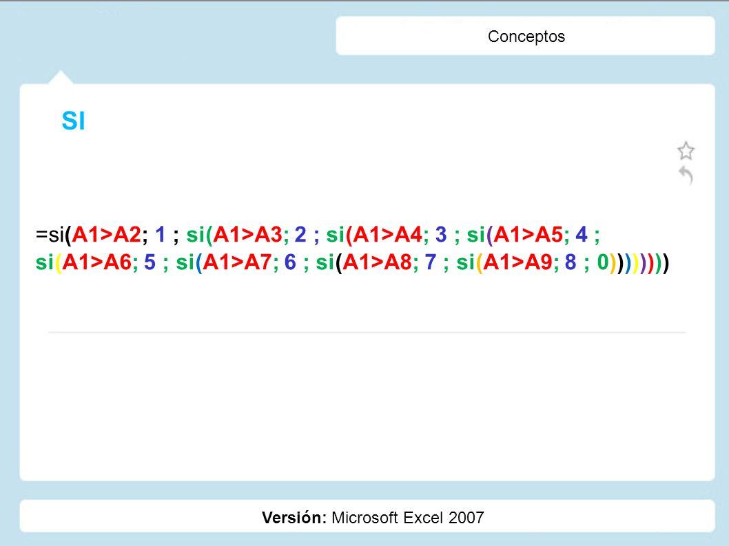 Conceptos SI. =si(A1>A2; 1 ; si(A1>A3; 2 ; si(A1>A4; 3 ; si(A1>A5; 4 ; si(A1>A6; 5 ; si(A1>A7; 6 ; si(A1>A8; 7 ; si(A1>A9; 8 ; 0))))))))