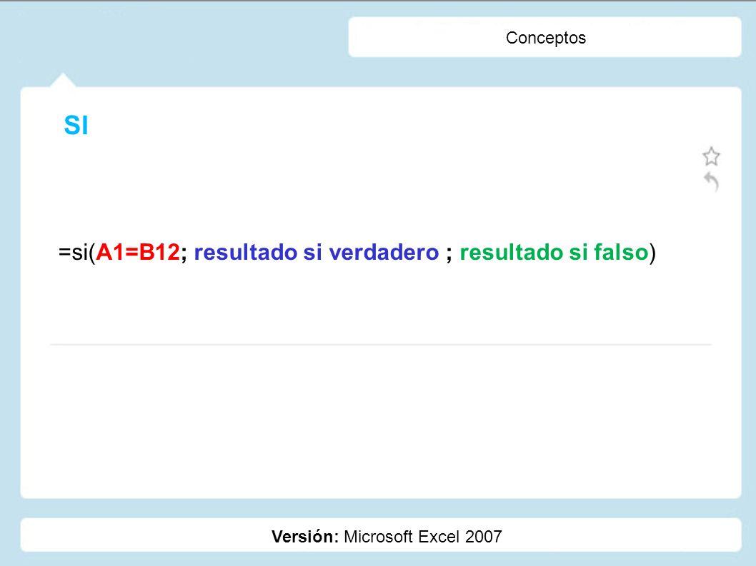 SI =si(A1=B12; resultado si verdadero ; resultado si falso) Conceptos