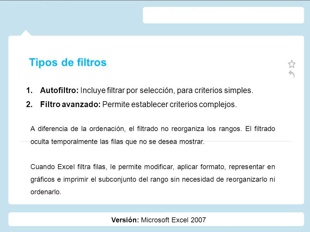 Tipos de filtros Autofiltro: Incluye filtrar por selección, para criterios simples. Filtro avanzado: Permite establecer criterios complejos.