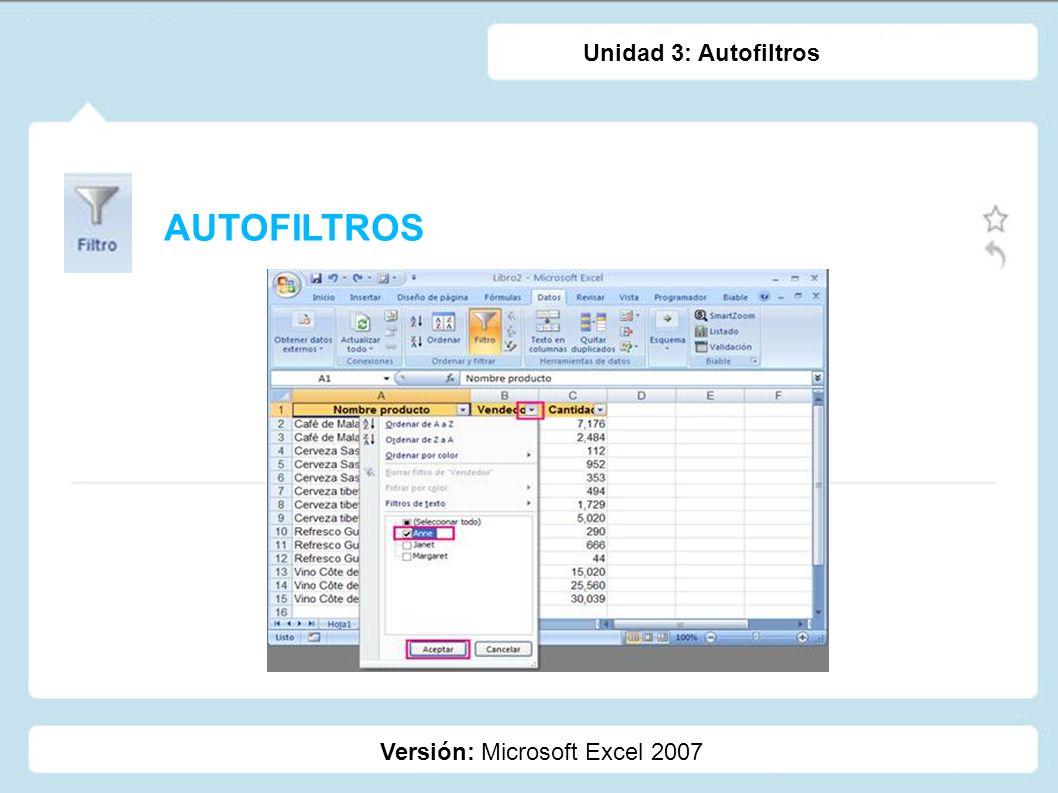 Unidad 3: Autofiltros AUTOFILTROS Versión: Microsoft Excel 2007