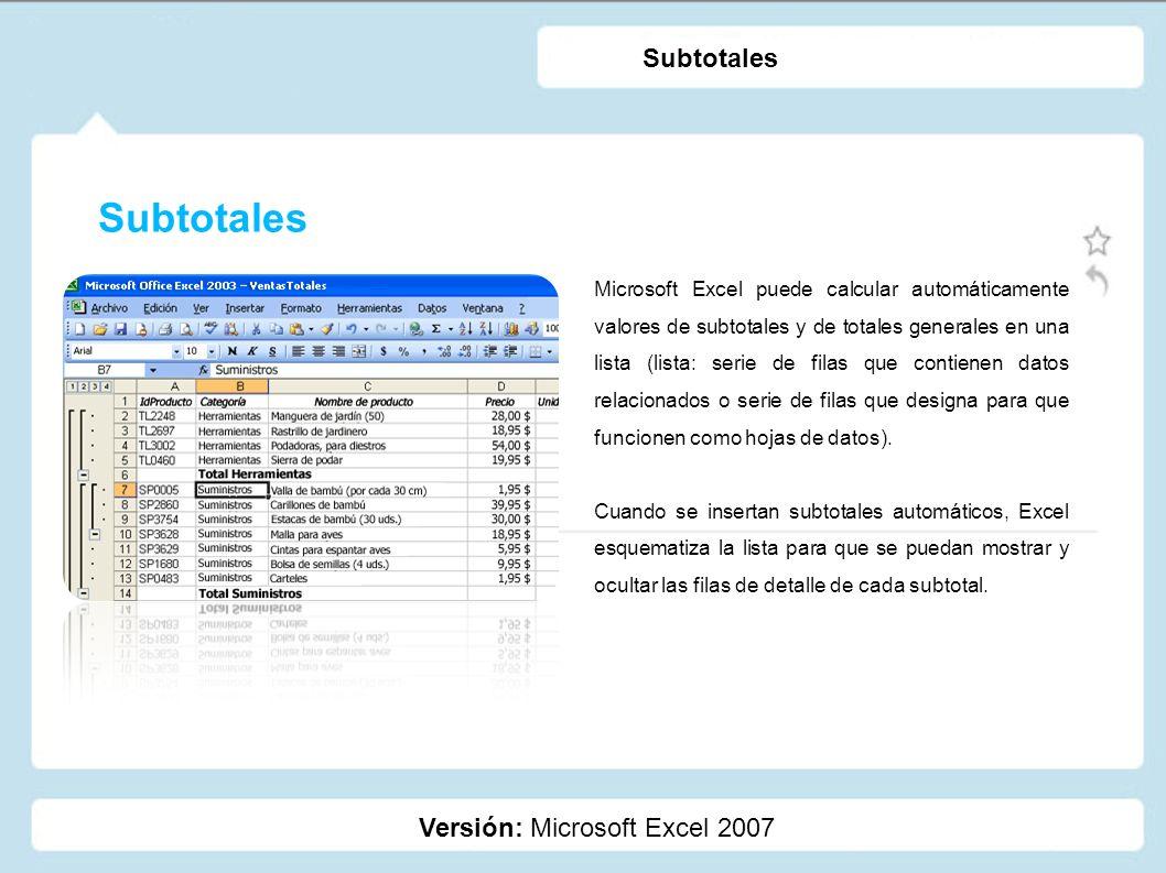 Subtotales Subtotales Versión: Microsoft Excel 2007