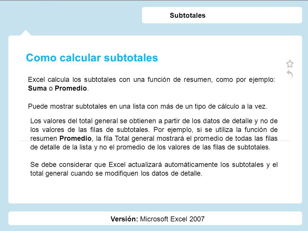 Como calcular subtotales