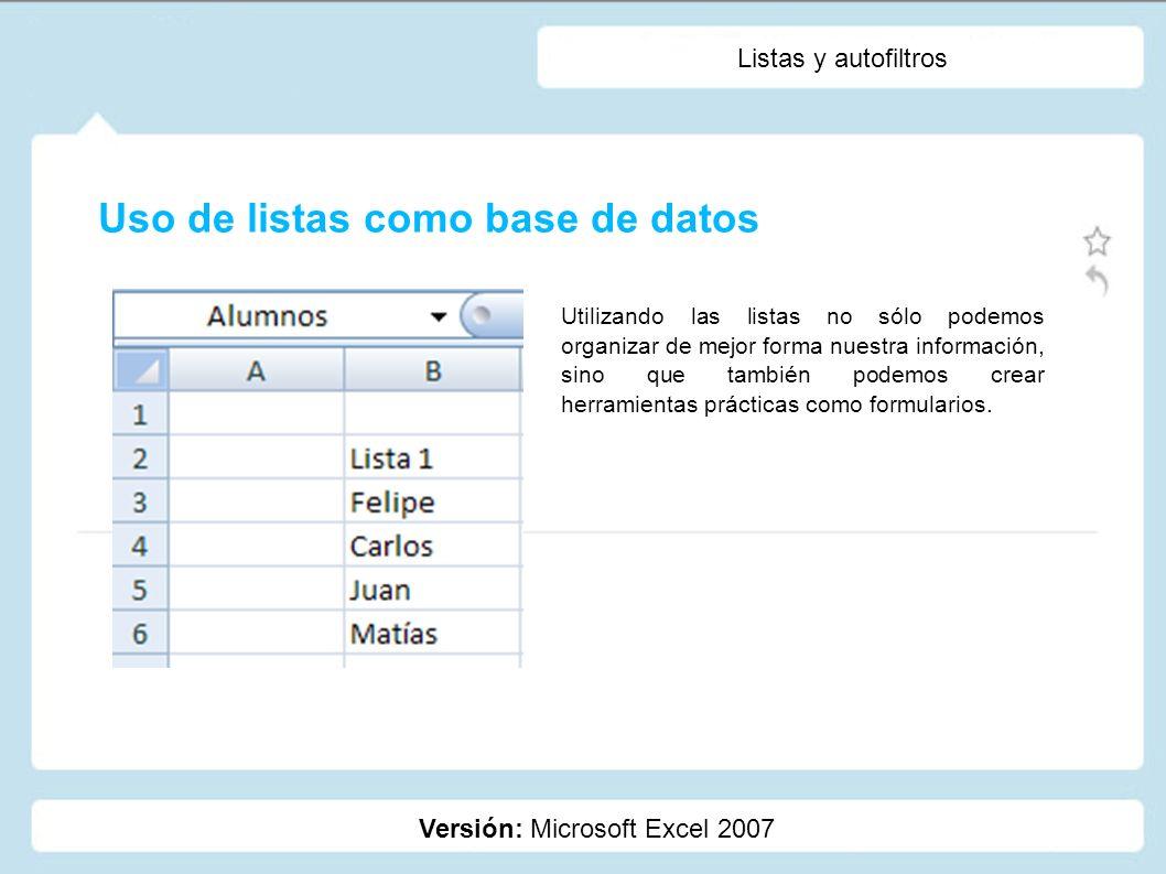 Uso de listas como base de datos