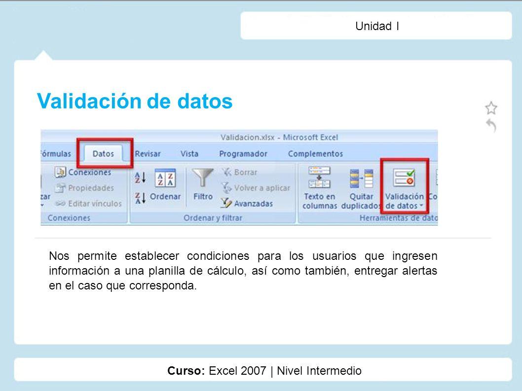 Validación de datos Unidad I