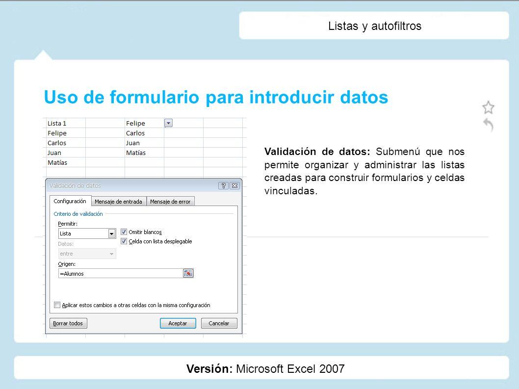 Uso de formulario para introducir datos
