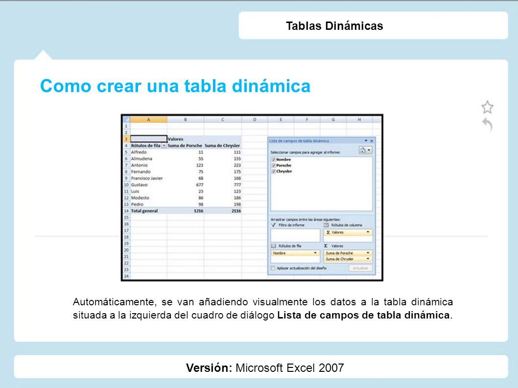 Como crear una tabla dinámica