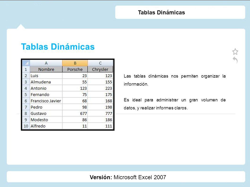 Tablas Dinámicas Tablas Dinámicas Versión: Microsoft Excel 2007
