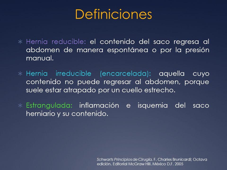 Definiciones Hernia reducible: el contenido del saco regresa al abdomen de manera espontánea o por la presión manual.