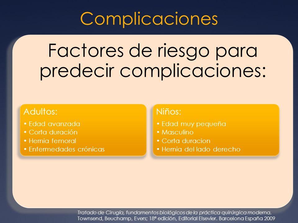 Factores de riesgo para predecir complicaciones: