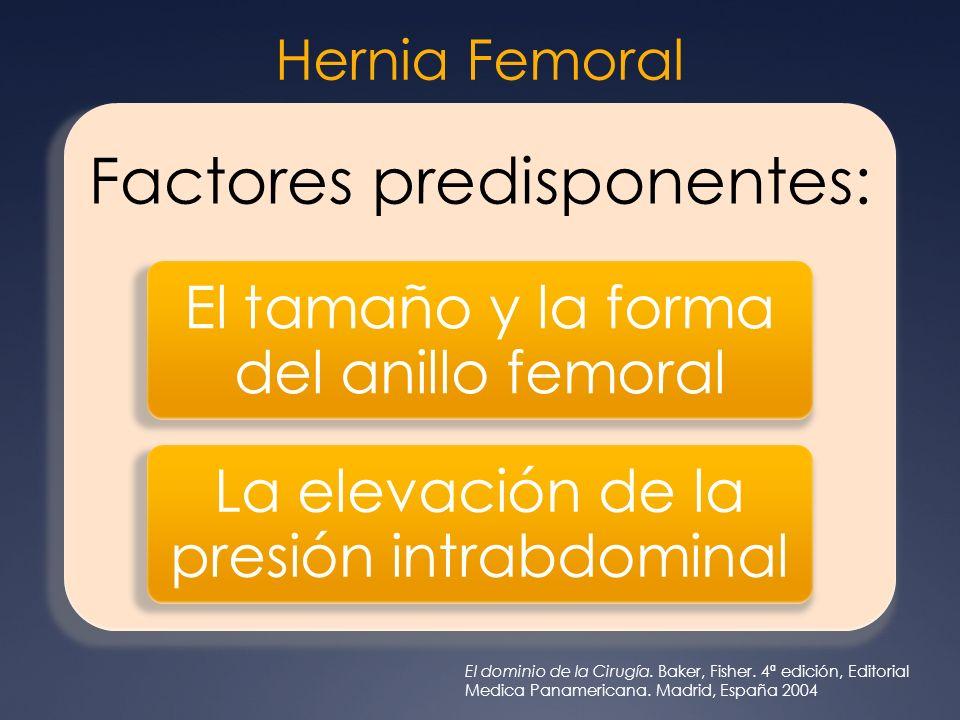 Hernia Femoral Factores predisponentes: El tamaño y la forma del anillo femoral. La elevación de la presión intrabdominal.