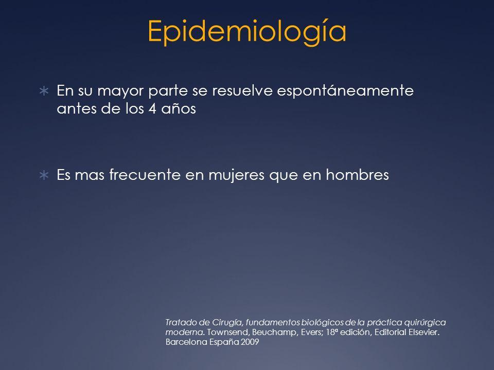 EpidemiologíaEn su mayor parte se resuelve espontáneamente antes de los 4 años. Es mas frecuente en mujeres que en hombres.