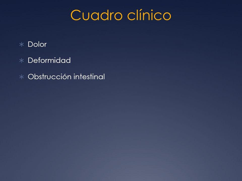 Cuadro clínico Dolor Deformidad Obstrucción intestinal