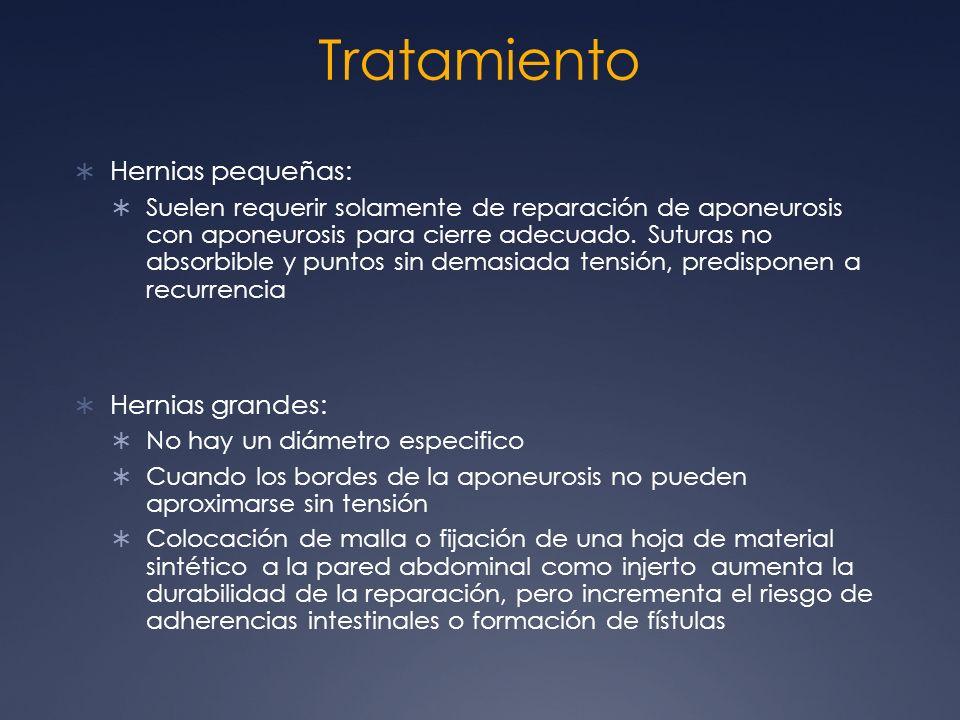 Tratamiento Hernias pequeñas: Hernias grandes: