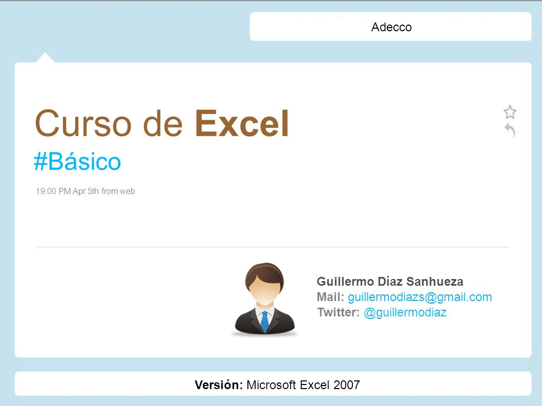 Curso de Excel #Básico Adecco Guillermo Díaz Sanhueza