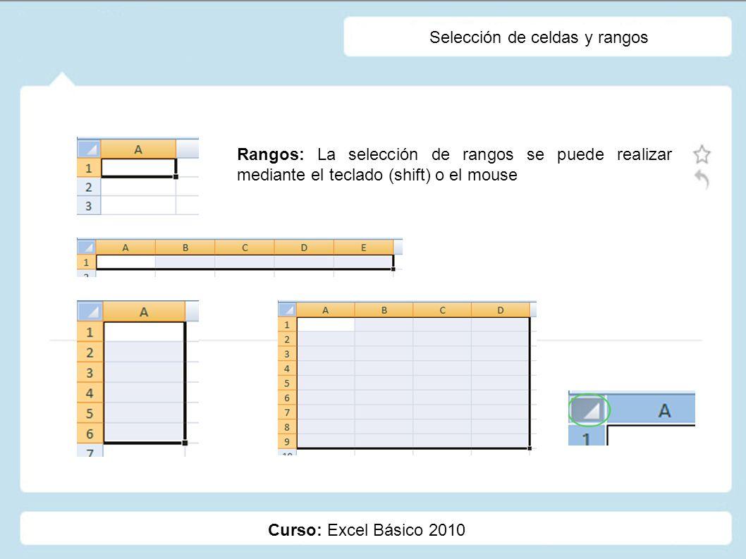 Selección de celdas y rangos