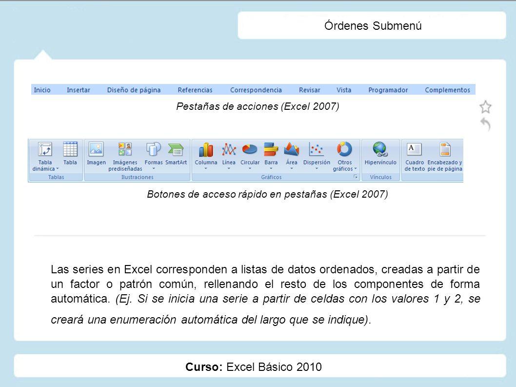 Órdenes Submenú Pestañas de acciones (Excel 2007) Botones de acceso rápido en pestañas (Excel 2007)