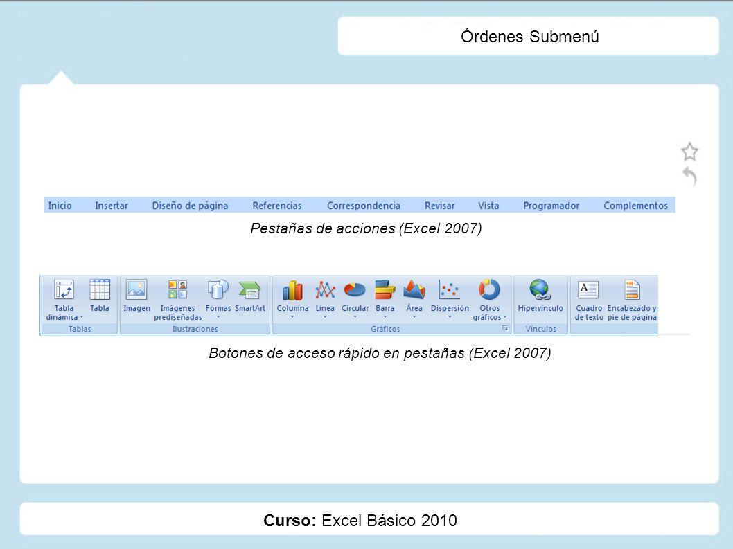 Órdenes Submenú Curso: Excel Básico 2010