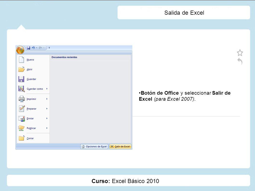 Salida de Excel Curso: Excel Básico 2010