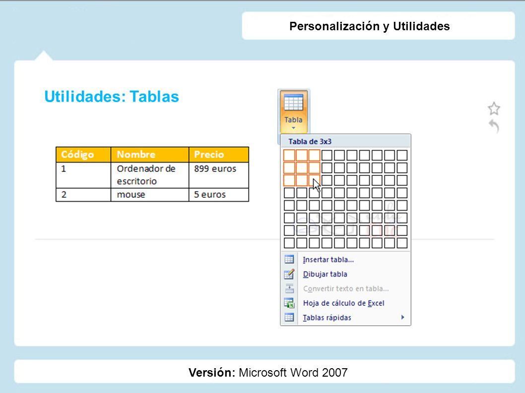 Utilidades: Tablas Personalización y Utilidades