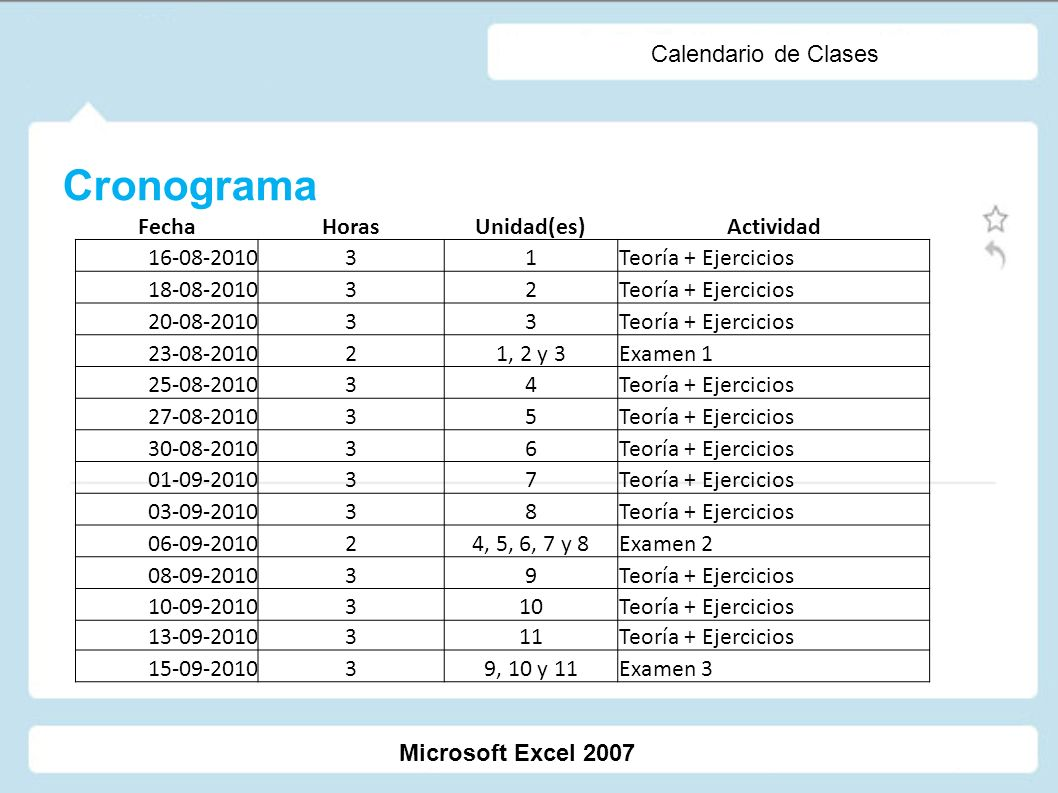 Cronograma Calendario de Clases Fecha Horas Unidad(es) Actividad